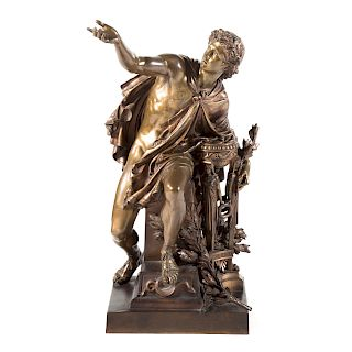 After Mathurin Moreau. Apollo. Bronze.
