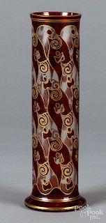 Cranberry cylinder vase