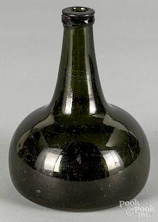 """Blown olive glass squat bottle, ca. 1800, 7"""" h."""