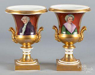 Pair of Paris porcelain style urns, etc.