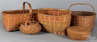 Five assorted baskets