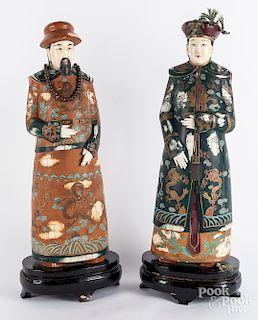 Pair of Chinese painted ivory veneer figures