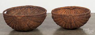 Two large split oak melon baskets