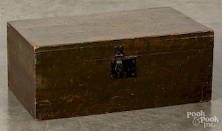 Painted pine lock box, 19th c.