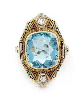 An Art Deco Yellow Gold, Platinum, Aquamarine, Diamond and Polychrome Enamel Ring, 4.30 dwts.