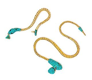 A Yellow Gold, Turquoise, Pink Sapphire and Garnet Serpent Demi-Parure, 28.50 dwts.