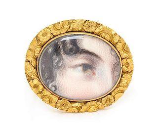 * A Georgian High Karat Yellow Gold Lover's Eye Brooch, 4.50 dwts.