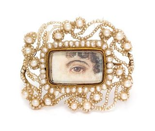 * A Georgian Rose Gold, Seed Pearl and Mother-of-Pearl Lover's Eye Brooch, 4.55 dwts.