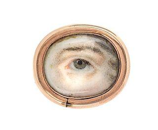 * A Georgian Rose Gold Lover's Eye Brooch, 2.25 dwts.