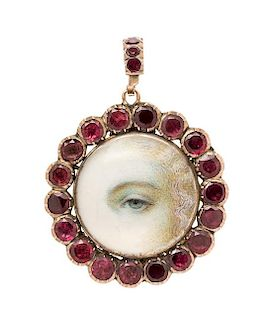 * A Georgian Rose Gold Lover's Eye and Paste Pendant, 6.95 dwts.