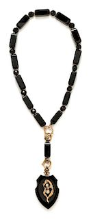 A Victorian Rose Gold, Onyx and Diamond Mourning Pendant/Necklace, 58.40 dwts.