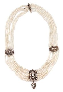 A Gold, Diamond and Cultured Pearl Swag Necklace, 42.95 dwts.