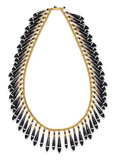 An Etruscan Revival Yellow Gold, Banded Agate and Enamel Fringe Necklace, Tiffany & Co., Circa 1870, 36.00 dwts.