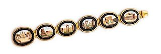 A Victorian Grand Tour Yellow Gold and Micromosaic Bracelet, 30.20 dwts.