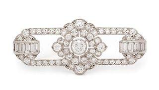 An Art Deco Platinum and Diamond Brooch, Tiffany & Co., 6.10 dwts.
