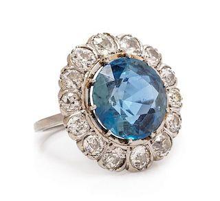 A Platinum, Aquamarine and Diamond Ring, 3.85 dwts.