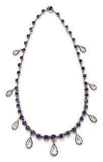 An Antique Silver, Yellow Gold, Sapphire and Aquamarine Fringe Necklace, 30.65 dwts.