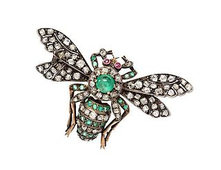 A Silver Topped Yellow Gold, Emerald, Diamond and Ruby Insect Brooch, 7.60 dwts.