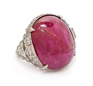 A Platinum, Ruby and Diamond Ring, 9.70 dwts.