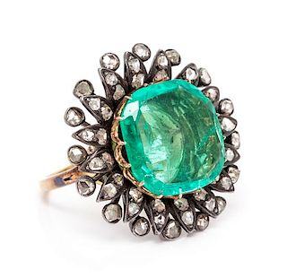 A Victorian Silver, Yellow Gold, Emerald and Diamond Ring, 6.80 dwts.