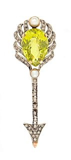 A Silver Topped 18 Karat Gold, Yellow Quartz, Cultured Pearl and Diamond Arrow Brooch, 9.20 dwts.