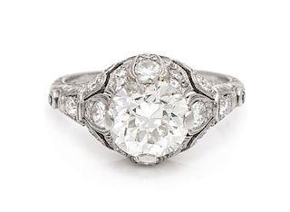 An Art Deco Platinum and Diamond Ring, 3.20 dwts.
