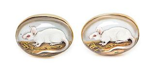 * A Pair of Yellow Gold, Mother-of-Pearl and Essex Crystal Albino Rat Motif Cufflinks, 22.70 dwts.