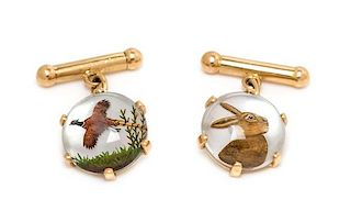 * A Pair of 18 Karat Yellow Gold, Mother-of-Pearl and Essex Crystal Hunting Motif Cufflinks, French, 6.50 dwts.