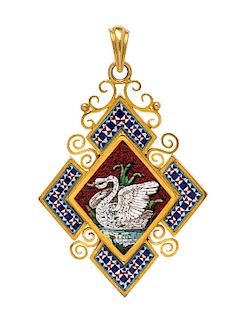 A Victorian Yellow Gold and Micromosaic Pendant, 8.50 dwts.