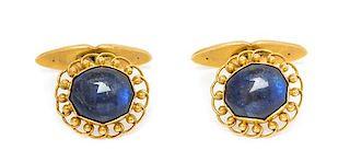* A Pair of 18 Karat Yellow Gold and Labradorite Cufflinks, Georg Jensen, 7.70 dwts.