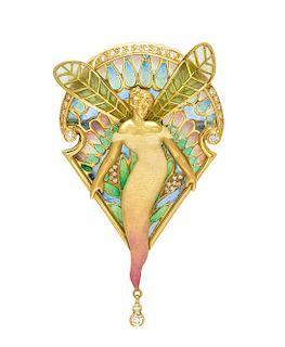 An 18 Karat Yellow Gold, Plique-a-Jour Enamel and Diamond Pendant/Brooch, Nouveau 1910, 13.00 dwts.