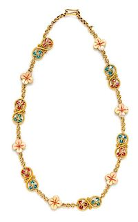 A Yellow Gold and Polychrome Enamel Flower Motif Necklace, 18.50 dwts.