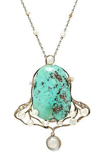An Art Nouveau Silver Topped Gold, Turquoise, Pearl and Diamond Pendant Necklace, 12.40 dwts.