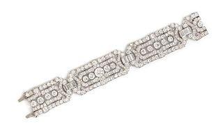 An Art Deco Platinum and Diamond Bracelet, 37.95 dwts.