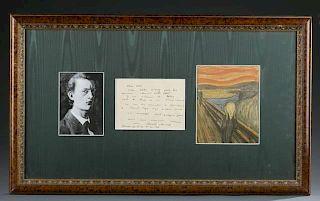 Edvard Munch signed letter, 1936.