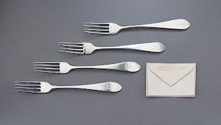 4 18th C. Scottish Sterling Silver Dinner Forks