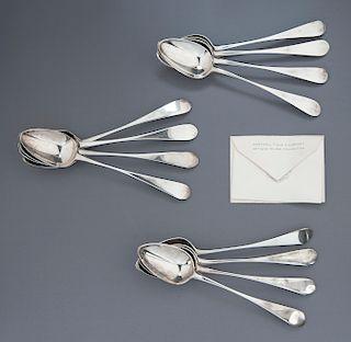 12 Scottish Sterling Silver Dessert Spoons