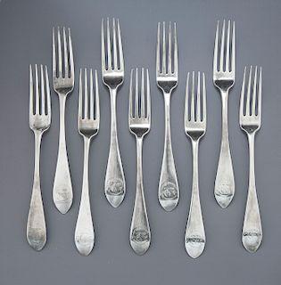 9 19th C. Scottish Sterling Silver Dinner Forks