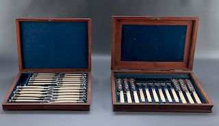 2 19th C Silver & Faux Ivory Utensil Sets in Cases