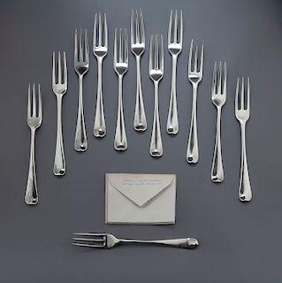 12 18th C. Sterling Three-Tine Dessert Forks
