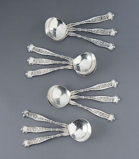 12 Pcs 19th C Whiting Dresden Sterling Soup Spoons