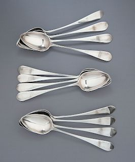 12 18th C. Scottish Sterling Silver Tablespoons