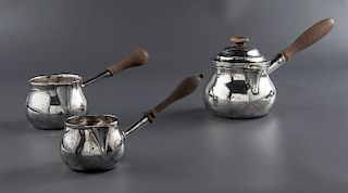 3 18th C. Sterling Silver Pipkins/Pourers
