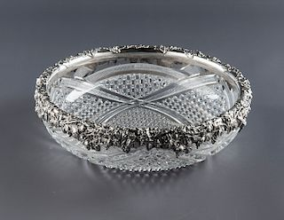 American Cut Crystal Bowl with Sterling Rim