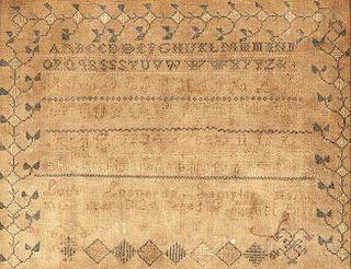 1834 Needlework Sampler, Lucy Leonard