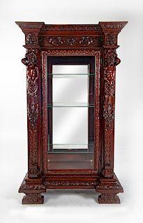 Ealborately Carved Baroque Revival Curio Cabinet