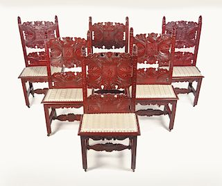 Set of 6 Carved Side chairs
