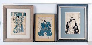 3 Japanese Woodblock Incl Gigado Ashiyuki