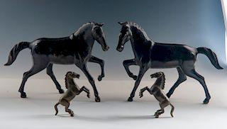 2 Pairs of Bronze Horses
