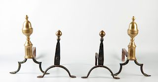 2 Sets Early Andirons
